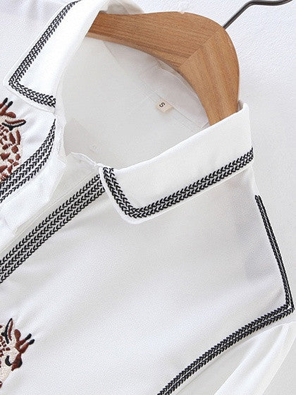 White Embroidery Animal Long Sleeve Shirt