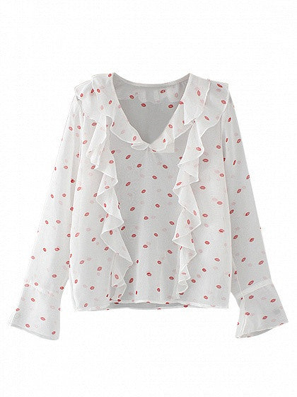 White V-neck Long Sleeve Lips Print Ruffle Detail Blouse