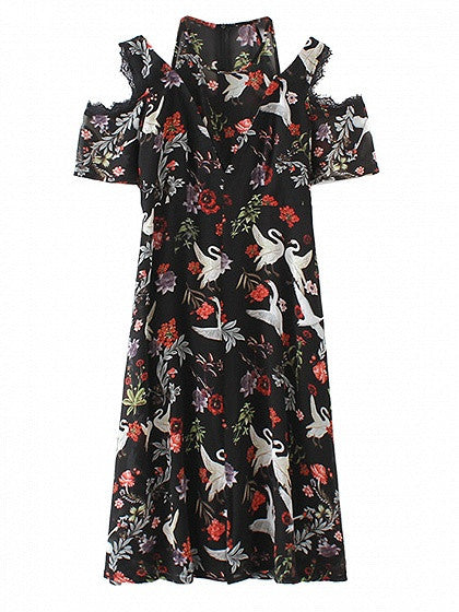 Black Floral and Swan Printed Cold Shoulder Lace Trim Short Sleeve Midi Dress