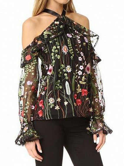Black Halter Cold Shoulder Floral Embroidery Sheer Mesh Blouse