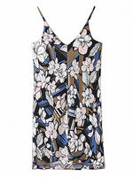 Multicolor V-neck Floral Print Cami Shift Mini Dress