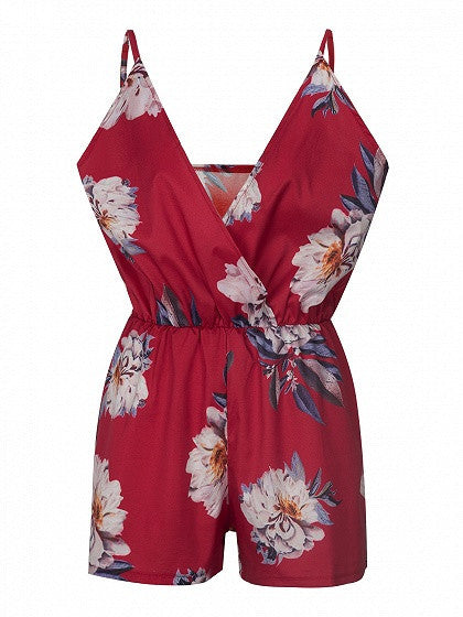 Red Wrap V-neck Floral Printed Spaghetti Strap Romper Playsuit