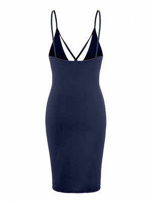 Navy Strap Caged Detail Backless Spaghetti Strap Bodycon Dress