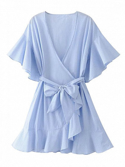 Blue Stripe Wrap Front V-neck Tied Waist Ruffle Sleeve and Hem Mini Dress