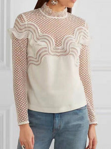 White High Neck Long Sleeve Ruffle  Cut Out Sheer Lace Blouse