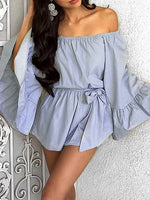 Blue Off Shoulder Bell Sleeve Tied Waist Romper Playsuit