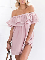 Pink Off Shoulder Double Layer Ruffle Chiffon Mini Shift Dress
