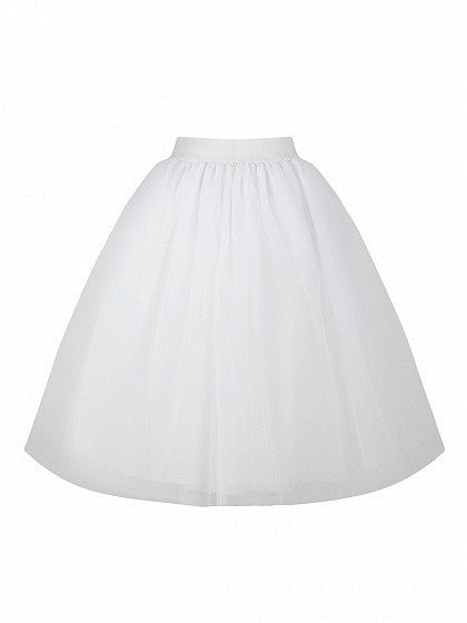 White High Waist Tulle Mesh Skater Skirt
