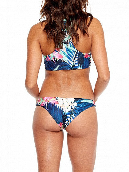 Multicolor Floral Printed Racer Back Strappy Bikini Top And Bottom