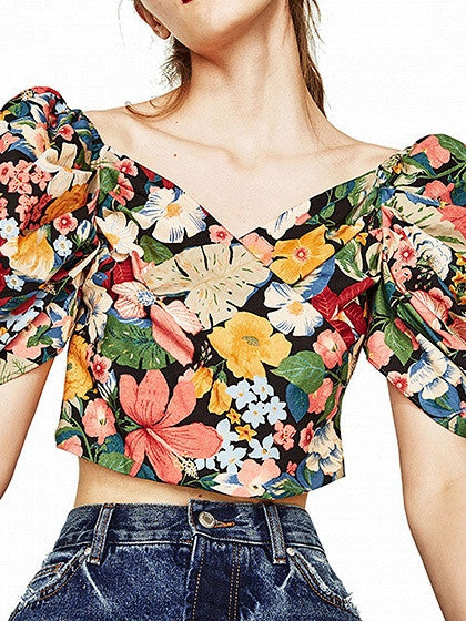 Multicolor Wrap V-neck Puff Sleeve Back Zip Floral Print Crop Top