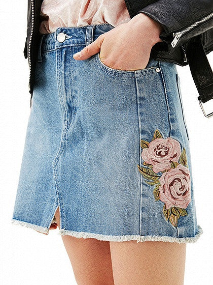 Blue High Waist Embroidery Rose Denim Mini Skirt