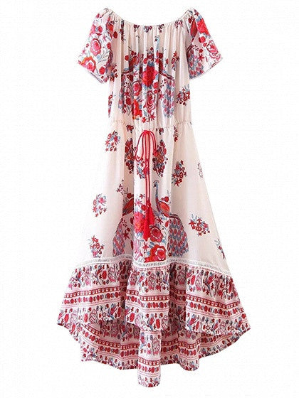 Multicolor Off Shoulder Floral Printed Dipped Hem Boho Swing Maxi Dress