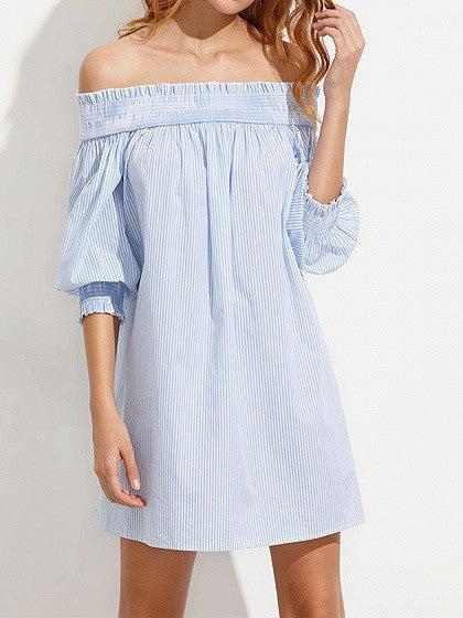 Blue Stripe Off Shoulder Stretch Shirred Panel Bow Back Shift Dress