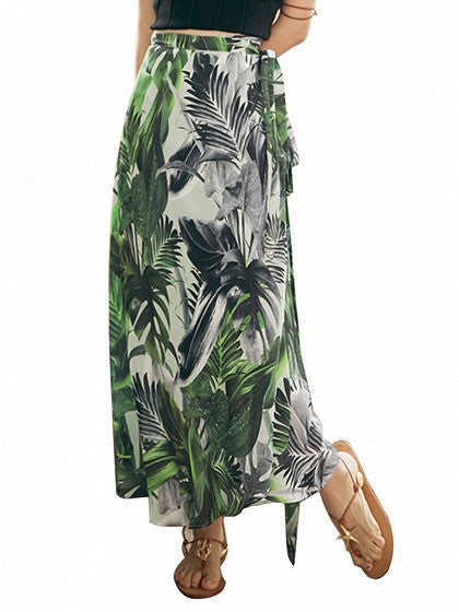 Multicolor Tropical High Waist Boho Maxi Skirt