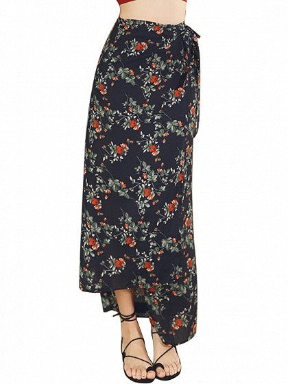 Multicolor High Waist Floral Printed Boho Wrap Maxi Skirt