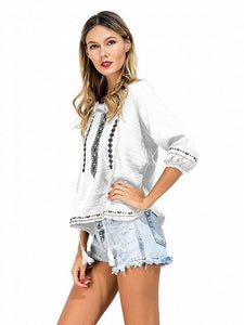 White Embroidery Tie Front Side Split 3/4 Sleeve Blouse With Drawstring