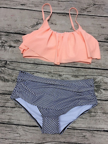 Pink Ruffle Padded Bikini Top And High Waist Stripe Bottom