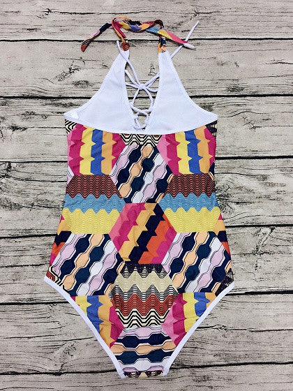 Colorblock Folk Halter Lace Up Front Geo Pattern One-piece Swimsuit