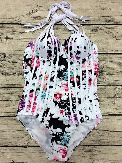 Floral Printed Strappy Halter Cut Out Back One-piece Swimsuit