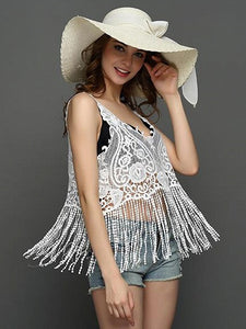 White V-neck Tassel Hem Sheer Lace Vest