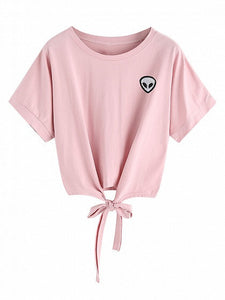 Pink Crew Neck Short Sleeve Tie Hem Alien Pattern T-shirt Top