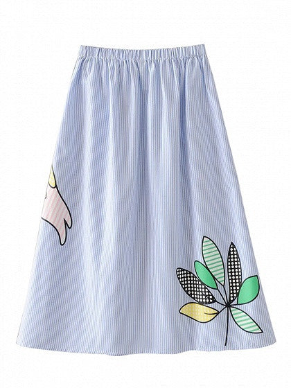 Blue Elastic Waist Stripe Crane Print Midi Skirt with Pocket