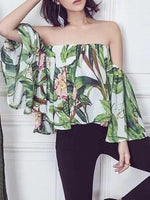 Multicolor Floral Off Shoulder Flared Bell Sleeve Blouse Top