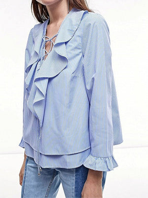 Blue Stripe Lace Up Front Ruffle Long Sleeve Layered Blouse