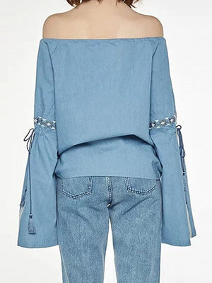 Blue Off Shoulder Embroidery Tie Front Flared Sleeve Blouse