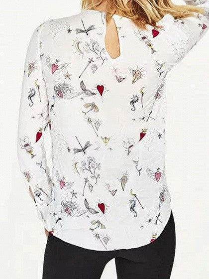 White Front Long Sleeve Mermaid Print Ruffle Blouse