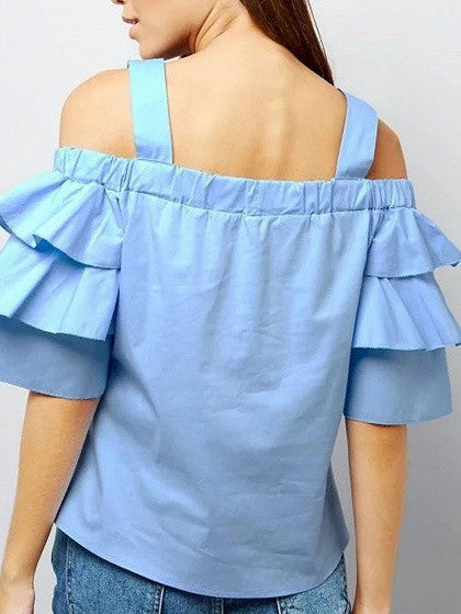 236c5a6be2f52 Blue Off Shoulder Ruffle Sleeve Blouse Top – chiclookcloset