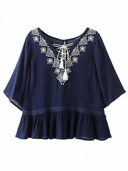 Navy V-neck Embroidery Lace Up Front Ruffle Hem Blouse Top