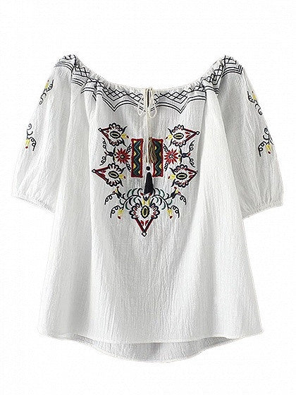 White Short Sleeves Embroidery Tie Front Blouse