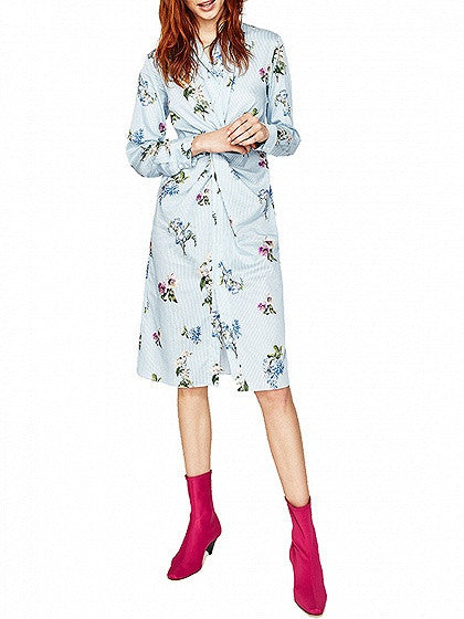 Blue Stripe And Floral Prited Twist Front Long Sleeve Shirt Dress