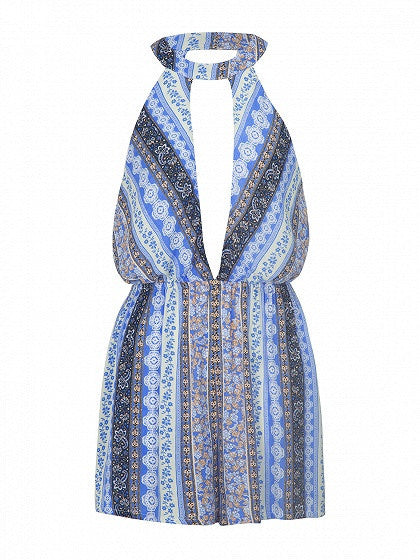 Blue Deep Plunge Tribal Print Open Back Romper Playsuit