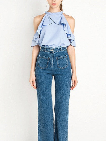 Blue Choker Neck Cold Shoulder Ruffle Top
