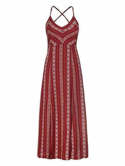 Red V-neck Tribal Pattern Strap Back Cross Side Split Maxi Dress