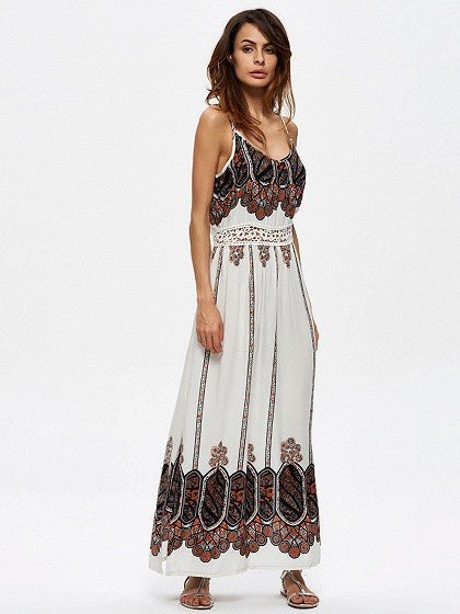 White Geo-tribal Printed Spaghetti Strap Lace Panel Side Split Boho Maxi Dress