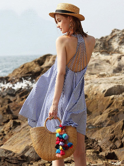 Blue V-neck Stripe Strappy Back Swing Mini Dress