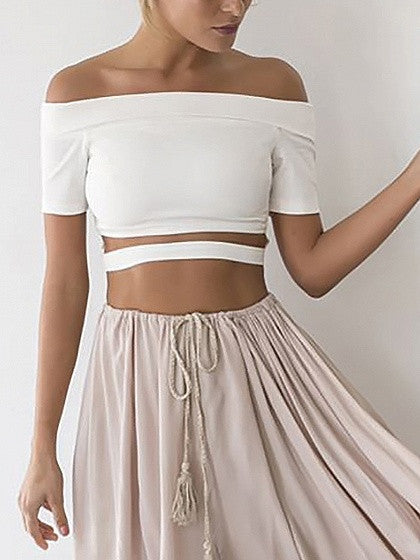 White Off Shoulder Open Belly Crop Top