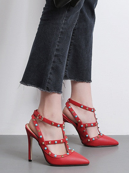 Red Stud And Beaded Strapy Pointed Heeled Shoes