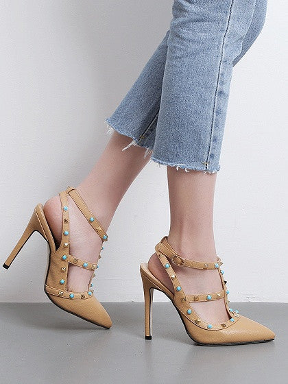Beige Stud And Beaded Strapy Pointed Heeled Shoes
