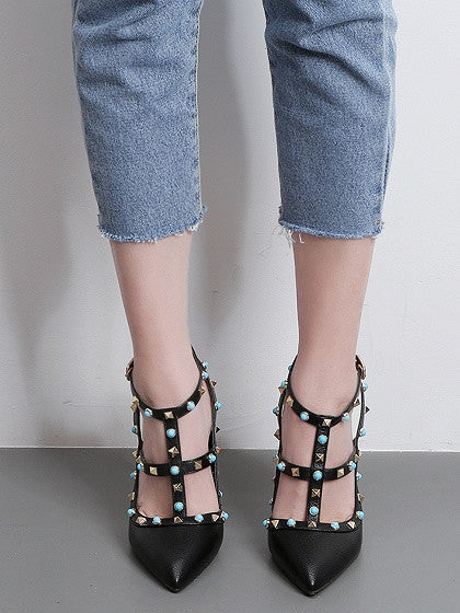 Black Stud And Beaded Strapy Pointed Heeled Shoes