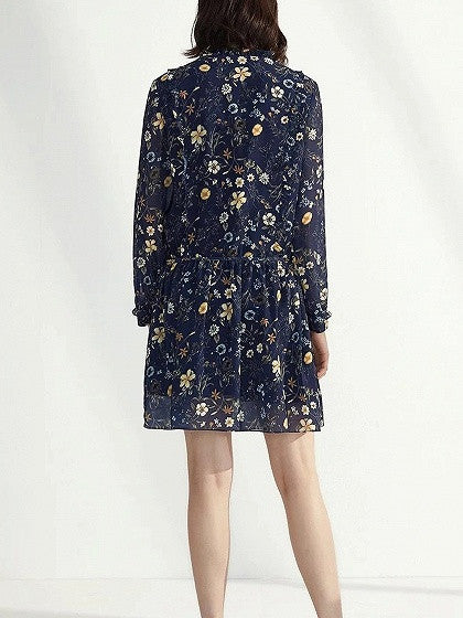 Navy Floral Printed Tie Front Long Sleeve Chiffon Mini Dress