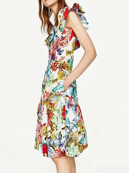 Polychrome High Waist Floral Prom Skirt