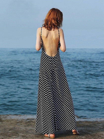 Black Stripe Pattern Backless Beach Maxi Dress