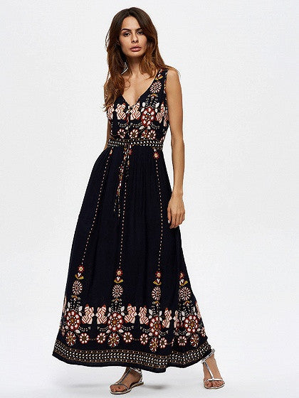 Navy Double V-neck Sleeveless Floral Printed Tied Waist Tribal Maxi Dress