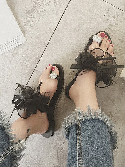 Black Bow And Crystal Embellished Flat Sandals