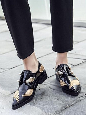 Black Pointed Toe Faux Pearl And Wing Embellished Shoes