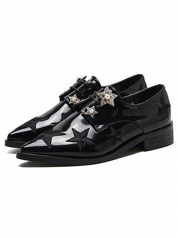 Black Pointed Toe Star Embellished Lace Up Shoes